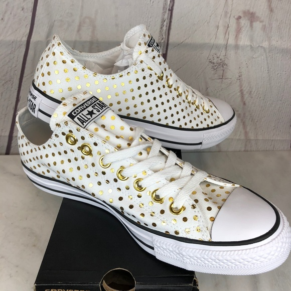 2cbc444f157746 Converse OX White   Gold Polka Dot Canvas Sneakers